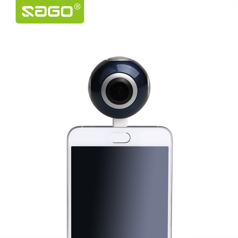 Sago 360 camera HD 360 Panoramic Camera VR Camera 210 Degree Dual Wide Angle Fisheye Lens 360 Camera for Android PK insta 360 720 360 degree panoramic camera vr camera hd video dual wide angle lens real time seamless stitching for android smartphone