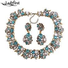 Ladyfirst 2016 za Marca de Fábrica Grande Joya Vintage de Cristal Collar Llamativo Chunky Collier Femme Maxi Maxi de Lujo Gargantilla Collar 3280
