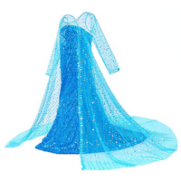 Girls Elsa Elza Princess Dress Kids Bodice Sequined Long Gown with Cloak Children Snow Queen Halloween Party Cosplay Dress