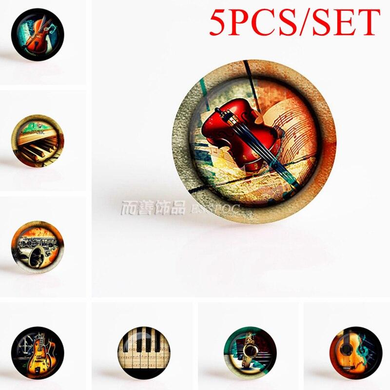 5PCS/SET Violin Piano Guitar Dome Glass Jewelry Instrument Gems Fashion Art 25mm Handmade Illustration Jewelry Music Gift