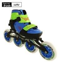 Профессиональный Регулируемый детские роликовые коньки загрузки Девушки Скорость катание обувь мальчиков конька отрегулировать 3 или 4 ко