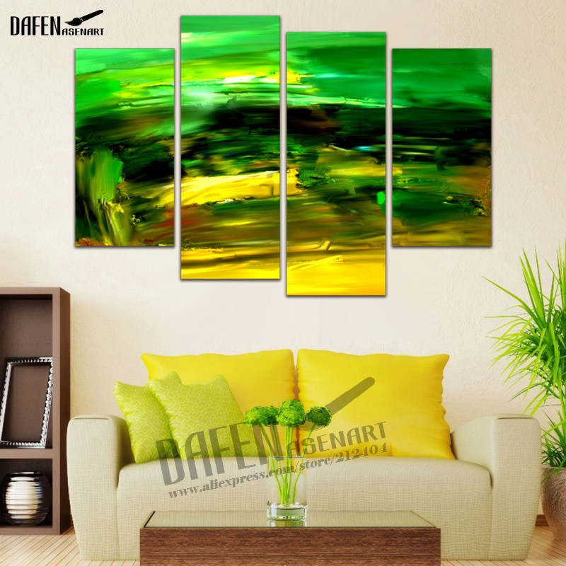 Aliexpress.com : Buy HD Painting 4 Panel Art Abstract Green Pictures ...