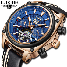 2019 LIGE New Mechanical Men Watch Luxury Automatic Mechanical Watch Male Leather Waterproof Sport Watch Men Business Clock+Box ik automatic mechanical watch male watch multifunctional trend waterproof business watch men s steel fashion