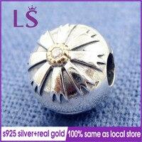 LS 100%Authentic S925 Silver 1.4k G.old Friendship Flower Clip Charm Fit Original Bracelets Pulseira Encantos.Fine Jewelry N