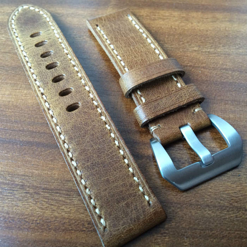 20MM 22MM 24MM Burst Crack Oil Wax Retro Leather Watchband, rough Leather Strap For P-Style Pam And Big Watch 22mm 24mm 26mm frosted dark blue retro soft mate genuine leather watchband watch strap for pam and big watch free shiping