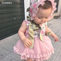Girl Floral Dress Baby Princess Party Spain Birthday Christmas Kids Dresses PP Pant Hat Set Bow Robe Fille Children Clothes 4pcs