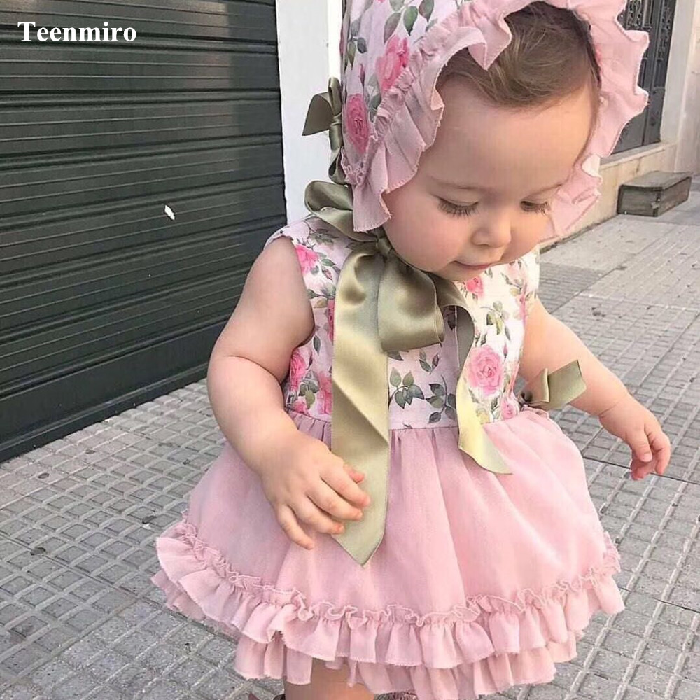 Spain Girl Floral Dress Baby Princess Birthday Party Christmas Kids Dresses PP Pant Hat Set Bow Robe Fille Children Clothes 4pcs girl dress princess floral autumn long sleeve gown party dresses kids clothes bow flower robe fille rapunzel kids dress 12 year