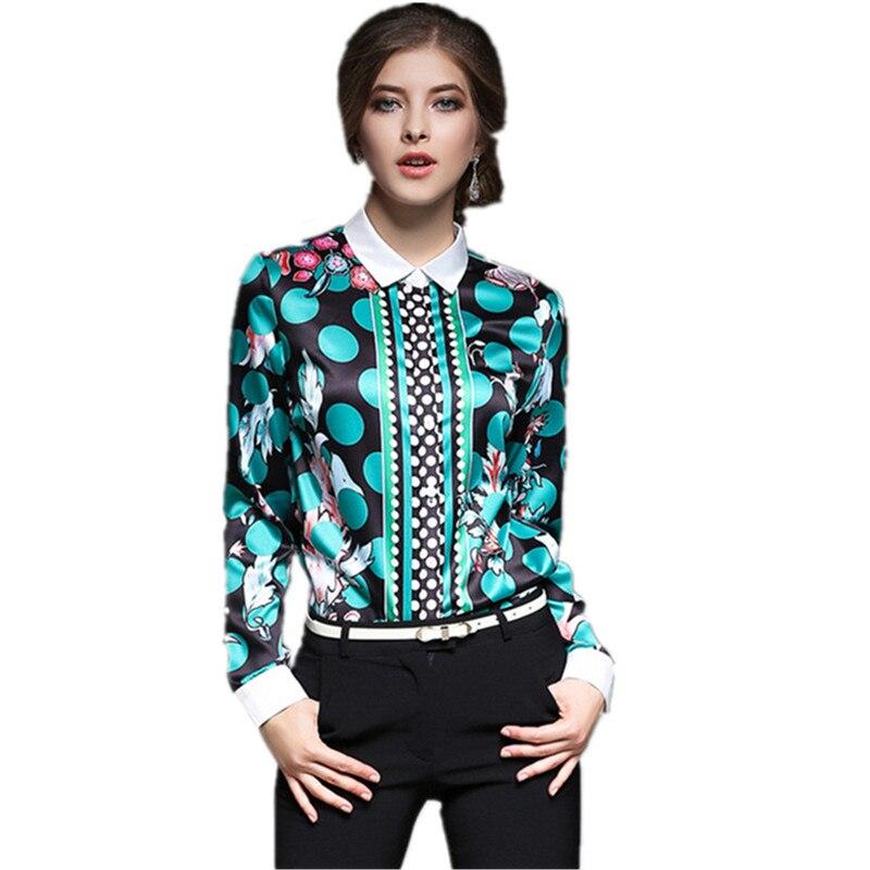 40f306cc9 Nueva camisa 2016 del desgaste del trabajo las mujeres Tops personalidad  impreso blusa casual Oficina mujeres ropa otoño elegante Camisas st350