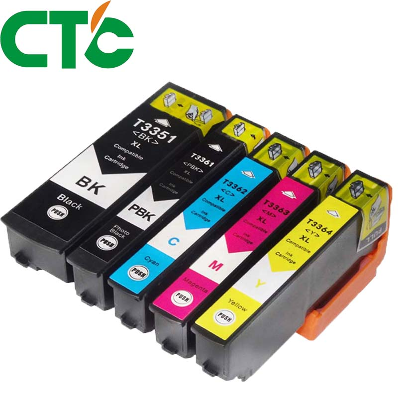 5Pack 33XL T3351 Compatible ink cartridge for Epson XP-530 XP-630 XP-830 XP-635 XP-540 XP-640 XP-645 T3351 T3361