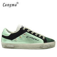 CANGMA Famous Brand Original Footwear Male Adult Fashion Genuine Leather Flats Men S Green Vintage Suede