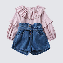 welaken Girls Clothing Sets 2019 Ruffles Long Sleeve Blouses + Fashion Denim Short for Children 2pcs Suits Baby Clothes