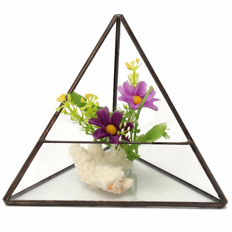 KiWarm Glass Geometric Terrarium Box Flower Pot Tabletop Succulent <font><b>Plant</b></font> Planter Vase Craft For Home Garden Ornament Gift