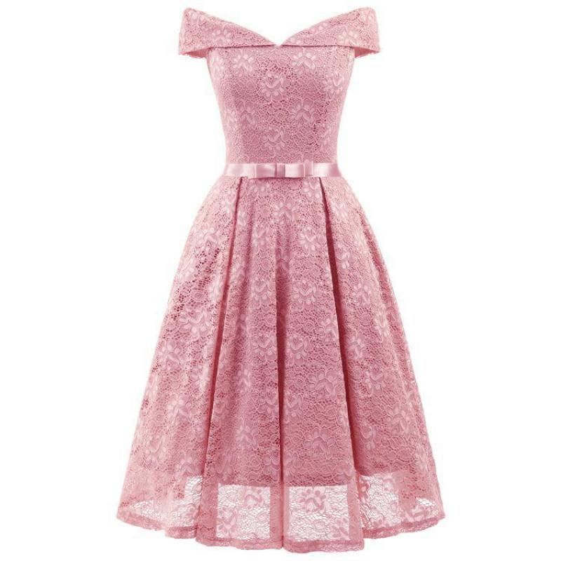 Real Photos PINK Bridesmaid Dress Lace Elegant Women Wedding Guest Dresses A Line Formal Prom Party Gowns Brides Maid Dress