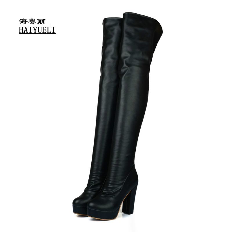 Autumn winter boots Fashion sexy Thick heel women high-heeled shoes  Knee-high boots