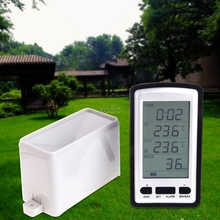 Wireless Rain Meter Gauge Weather Station indoor/outdoor temperature Recorder  M13 dropship