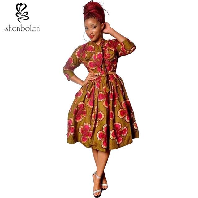 9c592dd97a African Dresses For Women Fashion Cotton Print High Quality Ankara Batik  Party Dress Plus Size S-5XL