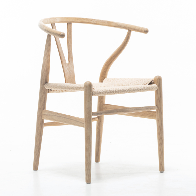 Nordic style dining chair New Chinese casual solid wood Y chair Western restaurant coffee shop back armchair