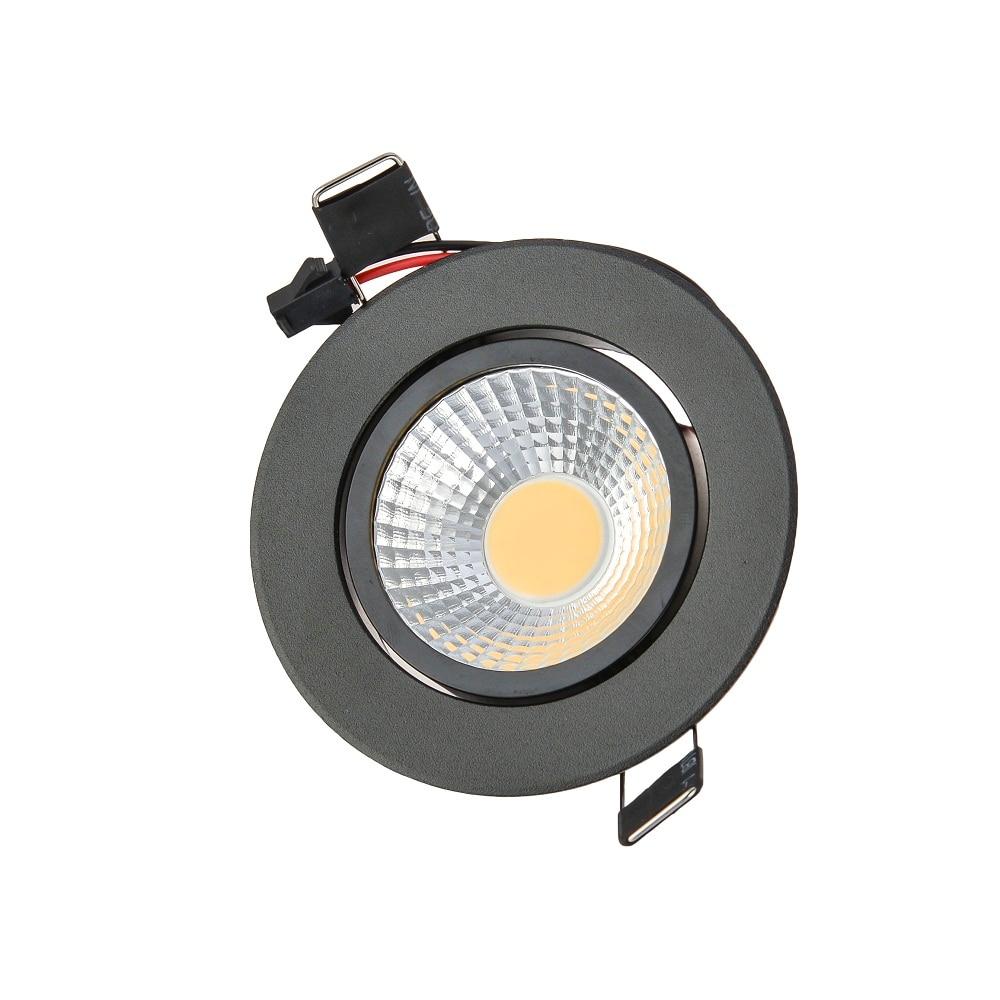 100gab / partija Dimmable LED Downlight 3W 6W 9W 85-265V COB LED DownLights COB Spot Iegremdēta gaisma Spuldze