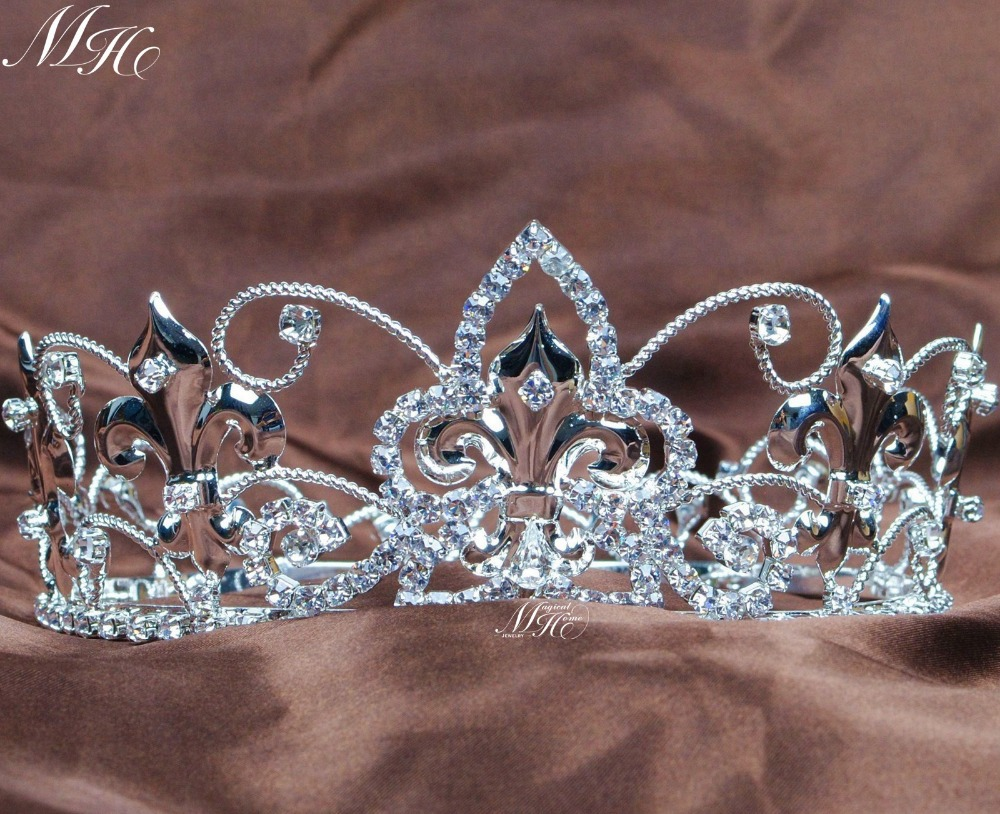 Queen Round Tiaras Imperial Medieval Crowns Clear Rhinestones Crystal Birthday Pageant Prom Party Costumes for Kids Children