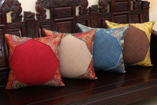 Creative Patchwork Square Pillow Case Linen Cushion Cover Christmas Decorative Pillows Cover High End Silk Brocade Cushion Case