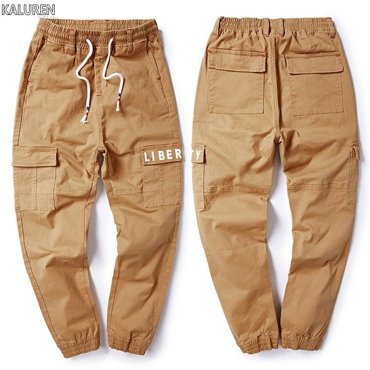 KALUREN Free shipping big size M-8xl plus men jeans cargo pants cotton male waist waist long trousers loose pants with letter