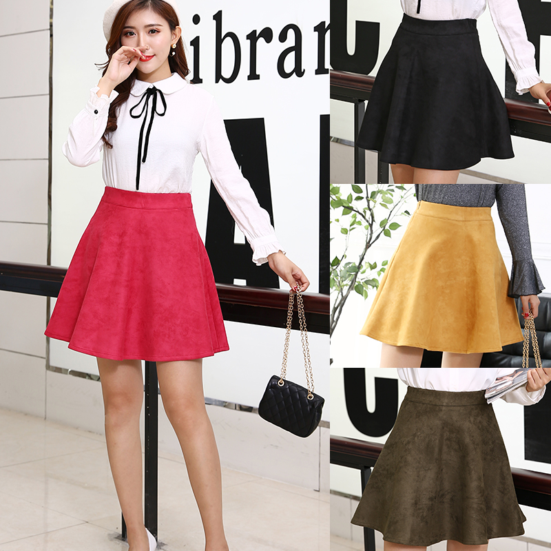 Plus Size Soft Suede Flare Skirt Women Casual Faux Leather Skirts A-Line Female Short Skirts image