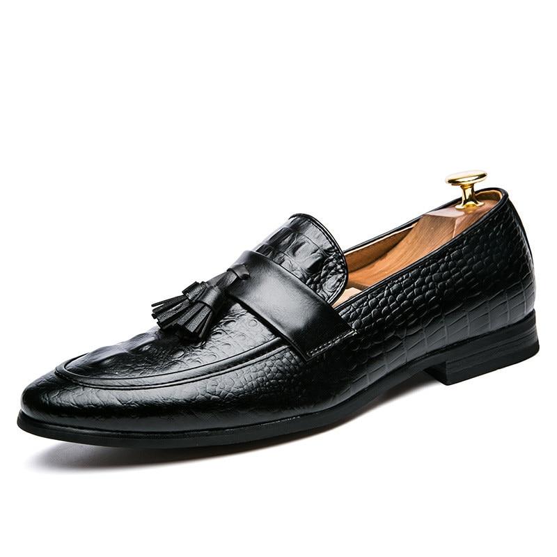 Mens Tassel Shoes Leather Italian Formal Snake Fish Skin Dress Office Footwear Luxury Brand Fashion Elegant Oxford Shoes For Men