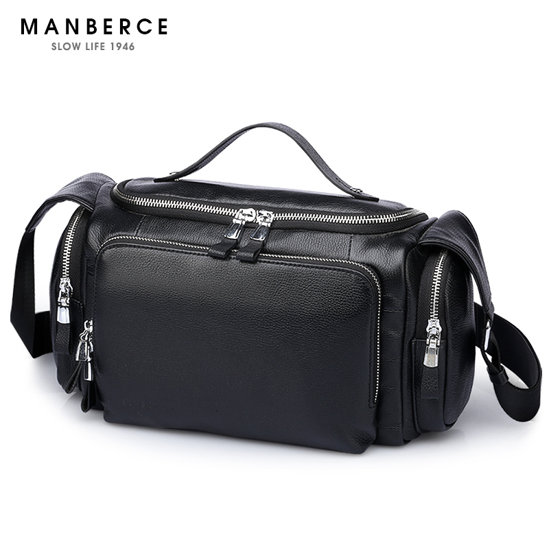 MANBERCE Brand font b Handbag b font Genuine font b Leather b font Men Shoulder Bags