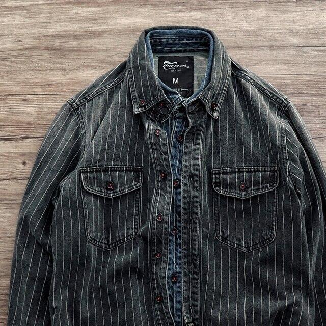 الرجال الربيع والخريف ماركة الموضة خمر اليابان نمط الرمال غسل شريط دنيم بأكمام طويلة قميص الذكور عارضة سميكة قميص مصبوغ