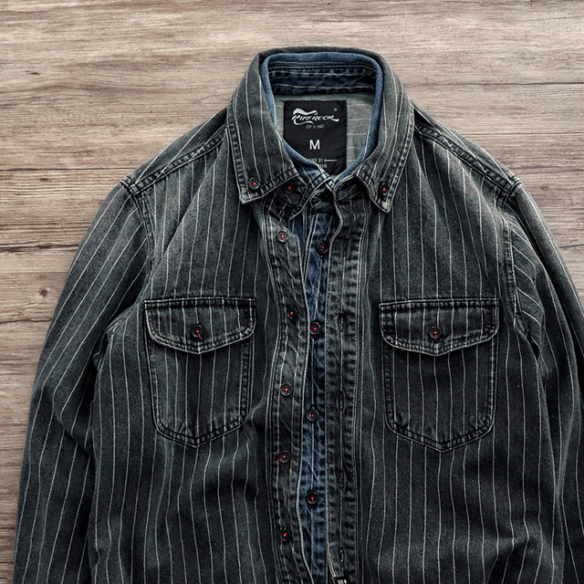 Men Spring And Autumn Fashion Brand Vintage Japan Style Sand Washing Stripe Long Sleeve Denim Shirt Male Casual Thick Dyed Shirt