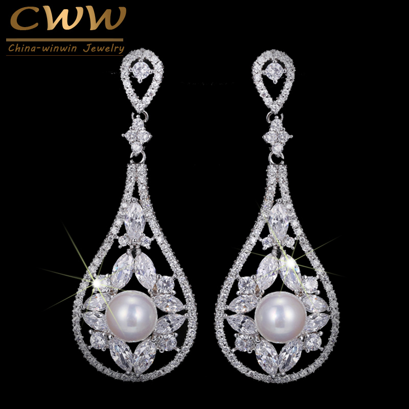 CWWZircons Noble White CZ Stones Pave Hanging Vintage Bridal Long Drop Pearl Earrings For Wedding Brides Jewelry Gift CZ213