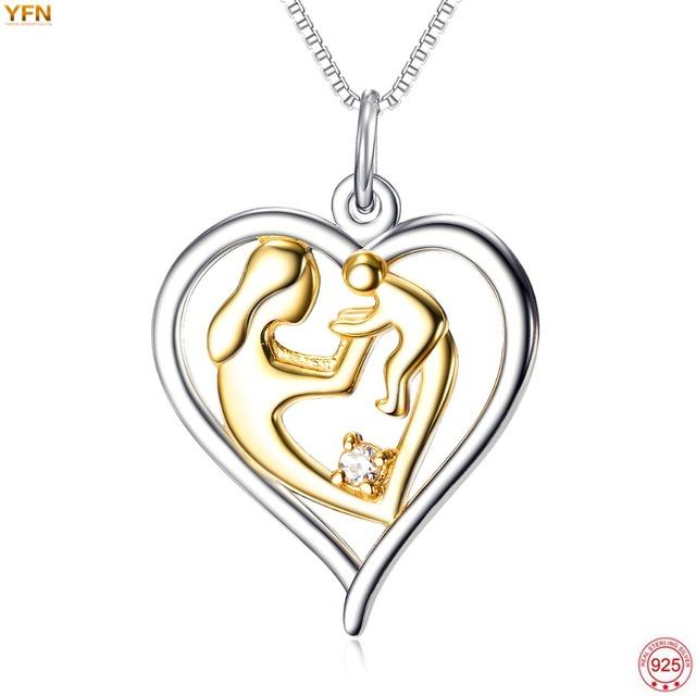 YFN Fina 925 Plateado Oro Madre Bebé de La Mano Del Amor Del Corazón Colgante Collar Para Las Mujeres Joyería de Moda