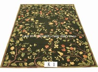 Free shipping 9'x12' Aubusson carpets big rugs black colors with flowers French Aubusson style carpets
