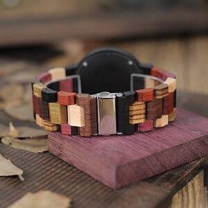 Image 3 - BOBO BIRD Reloj de madera para hombre y mujer, cuarzo, fecha, pareja, banda de madera colorida, logotipo personalizado, venta al por mayor