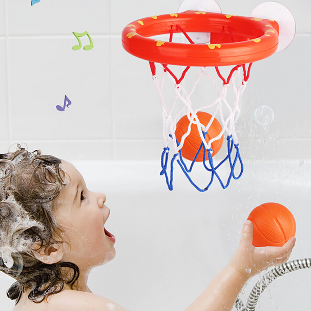 Rubber Baby Water Bathtub Suctions Basketball Hoop With 3 Balls Shooting Game Toddler Toys Infant  Baby Bath Toy Gift Sports Toy