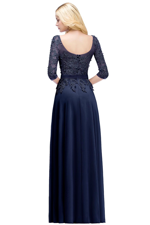 Elegant Pink Navy Blue Chiffon A-Line 3/4 Sleeve Long Bridesmaid Dress 4