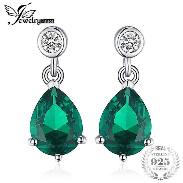 23747802efe7 JewelryPalace exquisita 6ct pera verde Nano ruso Esmeralda simulado  pendientes 100% 925 plata esterlina moda