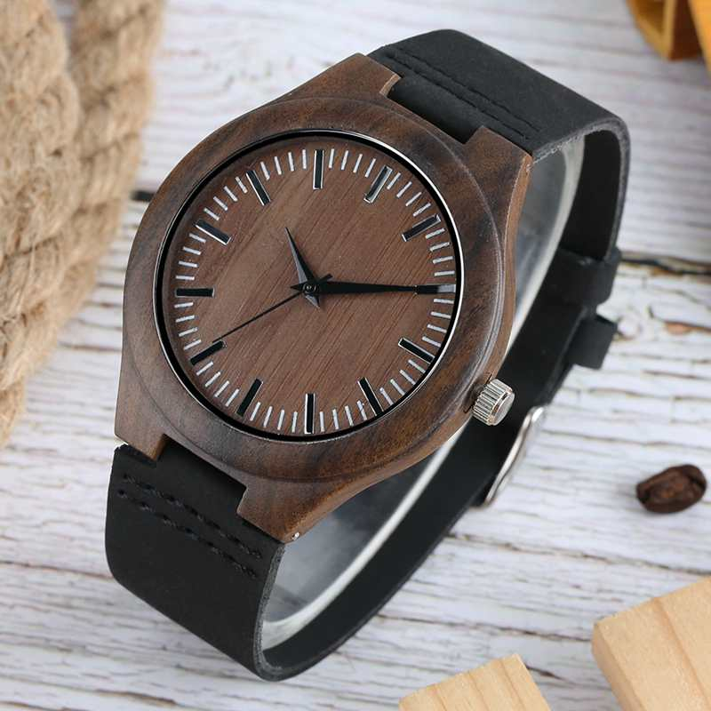 Top Gifts Men Watch Wood Simple Quartz Analog Dial Genuine Leather Men Wrist Watches Clock Man Quartz Wristwatches Reloj Hombre yazole watch men 2016 simple big dial fashion business mens watches leather strap quartz wristwatches male clock reloj hombre