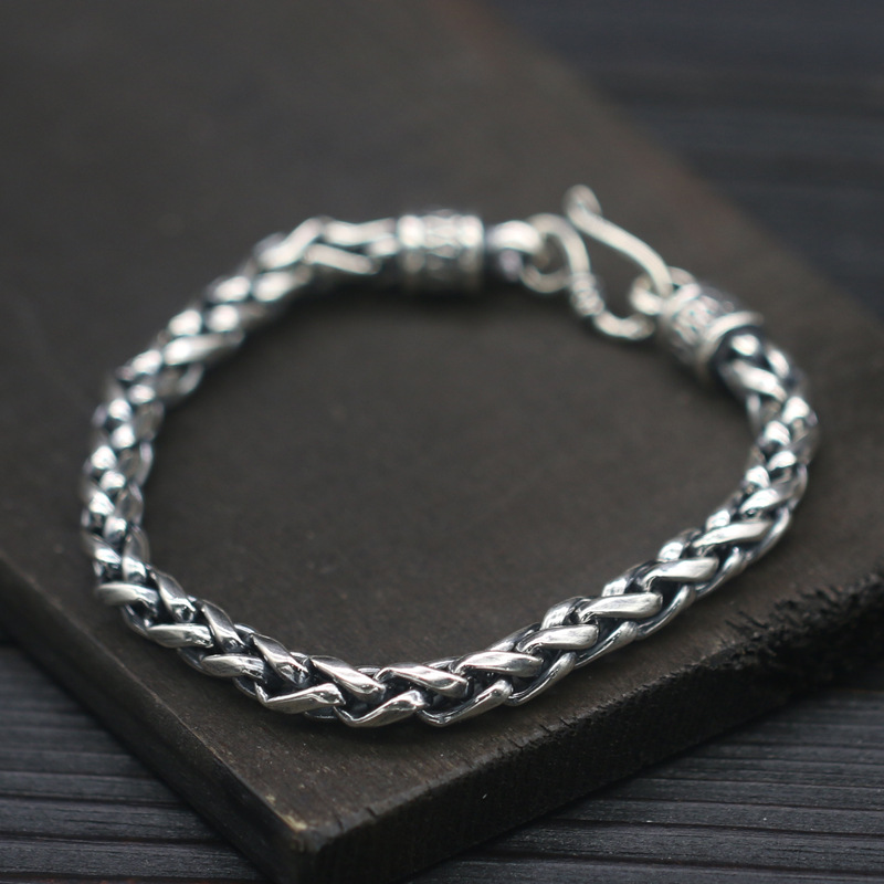 S925 Sterling Silver Single Strand Simple Hemp Rope Bracelet 5mm Personality Tide Men's Handmade Thai Silver Fashion Style