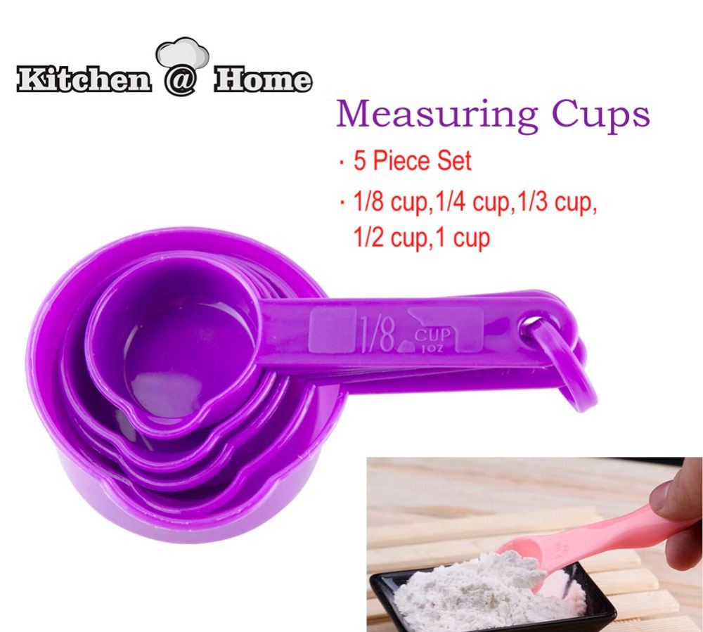 5 Pcs Set Food Grade PP Plastic Measuring Spoon Cups Tablespoon Sets 1 81 41 31 21 Cup Cooking Helper KK090