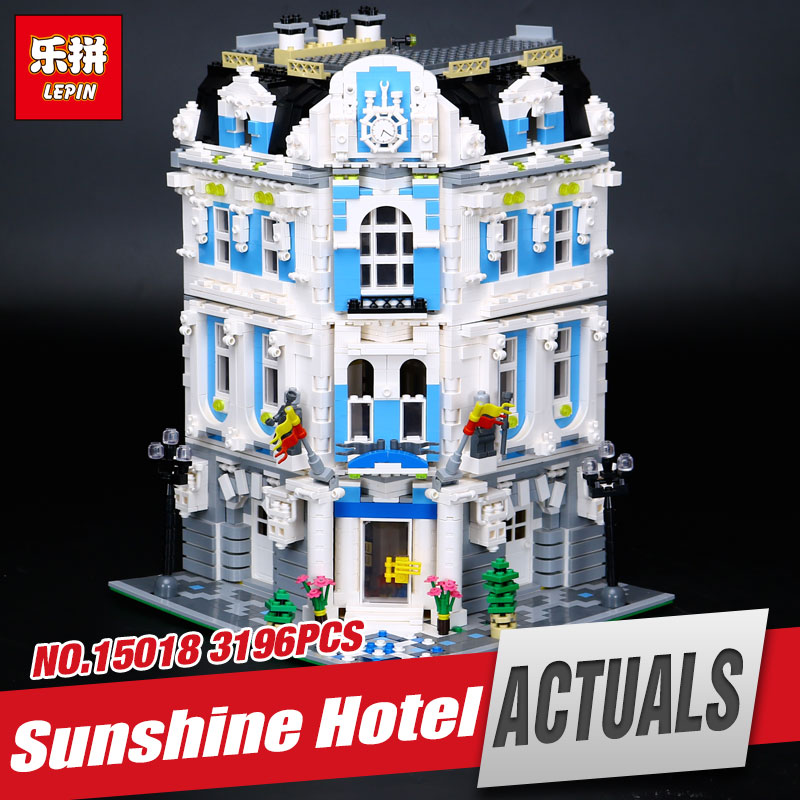 Lepin 15018 3196pcs Genuine New MOC City Series The Sunshine Hotel Set Educational Building Blocks Bricks Toys children Gifts laete 15018