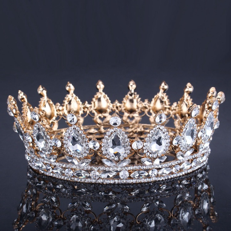 Vintage Baroque Queen King Bride Tiara Crown For Women Headdress Prom Bridal Wedding Tiaras and Crowns Hair Jewelry Accessories