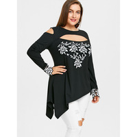 CharMma 2018 New Plus Size 5XL Cold Shoulder Asymmetric Embroidery Shirt Fashion Spring Black Oversized Long