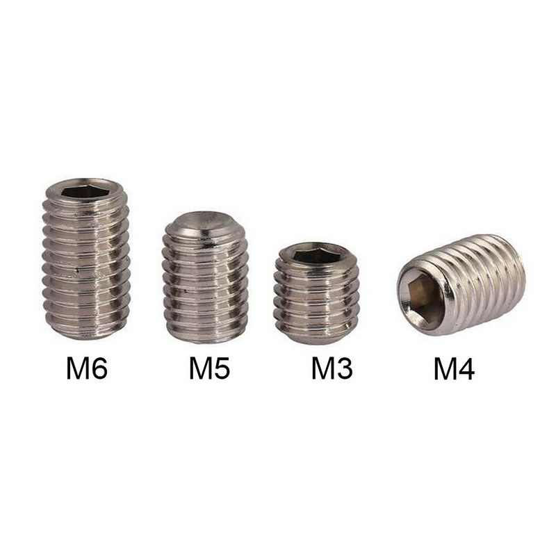 40 pcs 304 M3/4/5/6 Metric Thread Stainless Steel Headless Hexagon Socket Grub Screws Cup Point Allen Head Key Fastening Screws