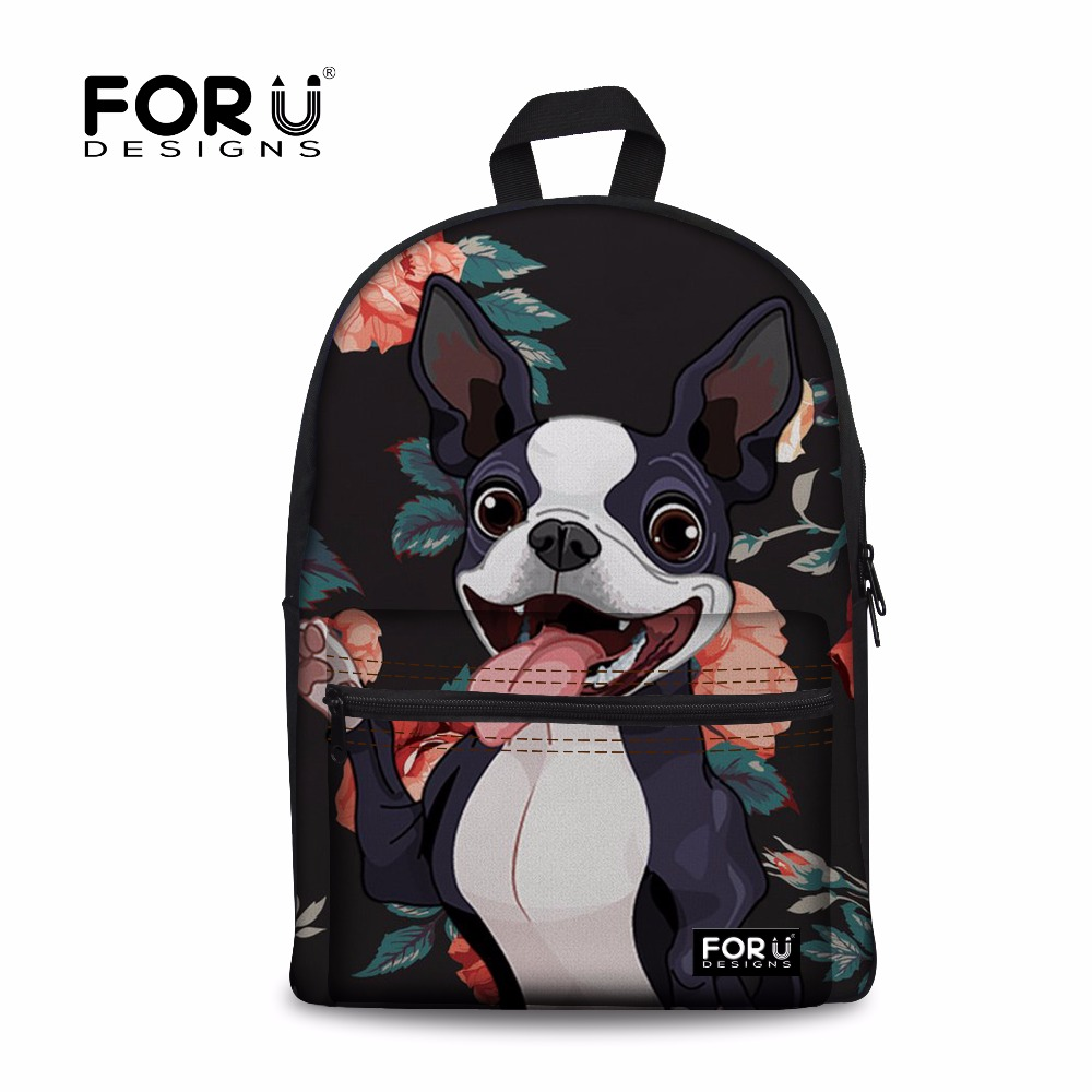 FORUDESIGNS Women Backpack Boston Terrier Printing Canvas Backpacks Feminime Shoulder Ba ...