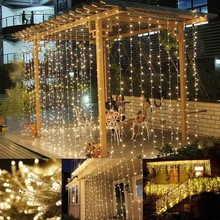 3X3M LED Icicle Curtain String Light Christmas Fairy Lights Wedding Party Home Garden Bedroom Outdoor Indoor Wall Decorations