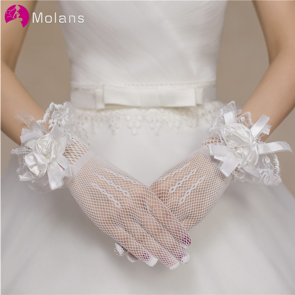 MOLANS Fashion Bride Wedding Dress Gloves Women White Red Lace Finger Wedding Bridal Evening Party Accessory Elegant Gloves