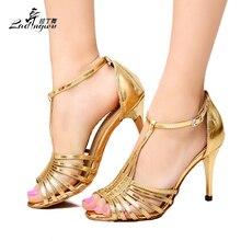 Ladingwu venta caliente de oro / plata de la PU zapatos de baile de tacón de la alta calidad mujer latina fiesta de baile de salón zapatos de baile talones 8.5