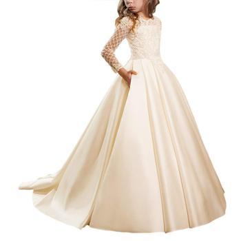 Girls Lace Silk Fabric Party Dress Kids Girl Wedding Birthday Princess Dress Girls Hollow to Floor Costume Girls Beautiful dress