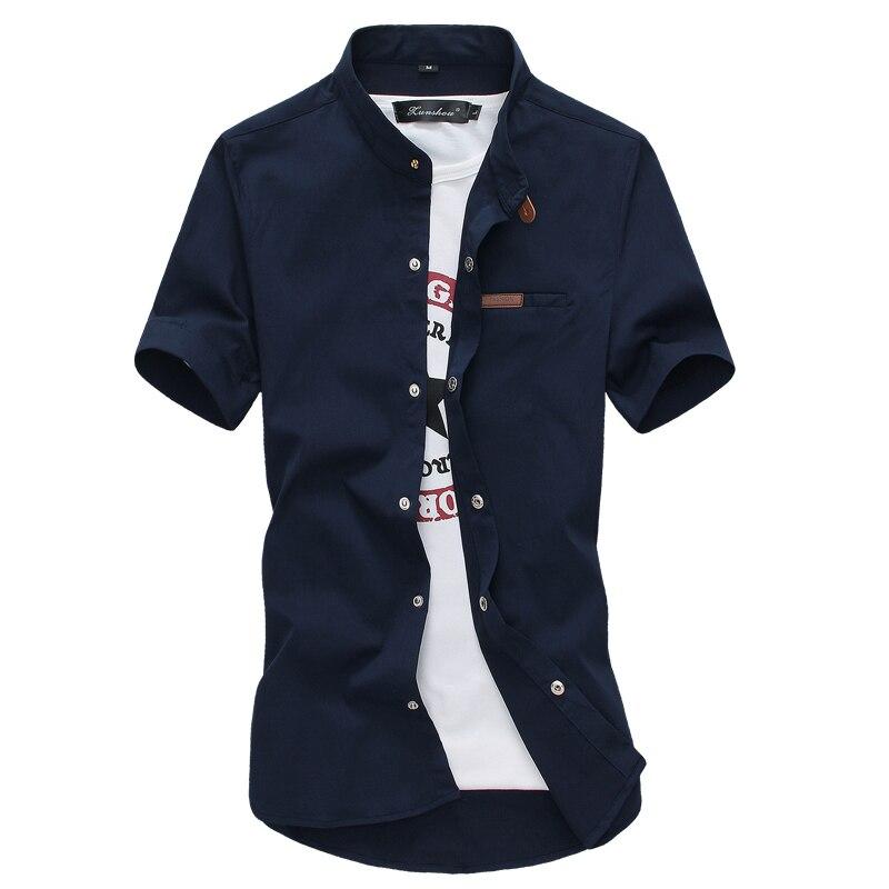 2018 Summer Multi-Color Casual Men's Short Sleeve Shirt Large Size 4XL 5XL Blue White Black Green Khaki Red Slim Fit Men Shirts